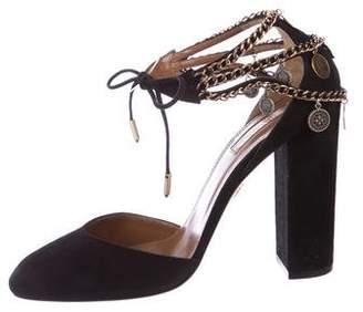 Aquazzura Suede Ankle Strap Sandals w/ Tags