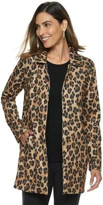 Dana Buchman Women's Leopard Open-Front Coat