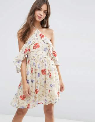 ASOS Cold Shoulder Mini Dress with Ruffle Sleeve in Vintage Floral Print $58 thestylecure.com