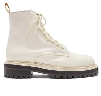 Proenza Schouler High Top Leather Combat Boots - Womens - White