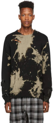 R 13 Black Bleached Distressed Crewneck Sweater