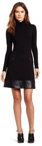 Nicole Miller Women's Ponte and Leather Combo Mock-Neck Dress