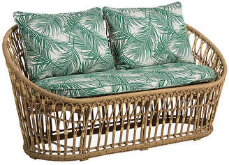 One Kings Lane Palma Wicker Loveseat - Emerald Palm