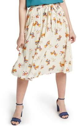ModCloth Tie Front Print Full Skirt (Regular & Plus Size)