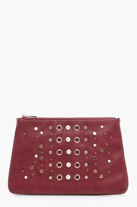 boohoo Maisy Pearl And Eyelet Zip Top Clutch