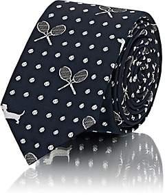 Thom Browne Men's Tennis- & Dog-Pattern Silk Repp Necktie - Navy