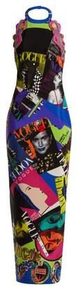 Versace - Vogue Print Halterneck Gown - Womens - Multi