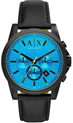 Armani Exchange Outer Banks Chronograph Black Leather Strap Watch