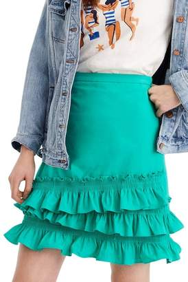 J.Crew J. Crew Baby Armada Cotton Poplin Ruffle Mini Skirt (Regular & Petite)