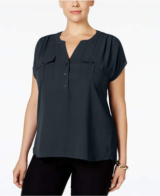 INC International Concepts I.n.c. Plus Size Mixed-Media Utility Shirt, Created for Macy's