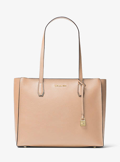 Michael Kors Mercer Large Top-Zip Leather Tote