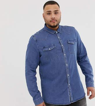 Asos Design DESIGN Plus stretch slim denim western shirt in mid wash