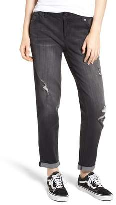1822 Denim Distressed Roll Hem Girlfriend Jeans