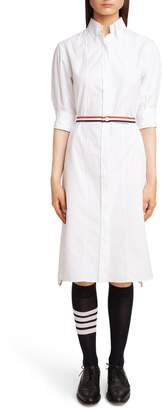 Thom Browne Belted Poplin Shirtdress
