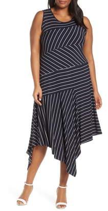 Vince Camuto Stripe Asymmetrical Hem Dress