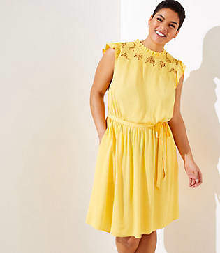 c18b00985ba48 LOFT Plus Floral Lace Yoke Ruffle Dress