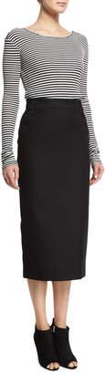 Max Mara Striped Long-Sleeve Scoop-Back Top, Black