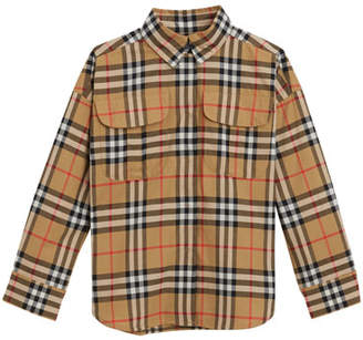 Burberry Sasha Check Collared Dress Shirt, Size 4-14