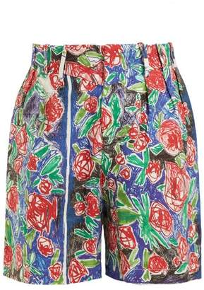 Charles Jeffrey Loverboy - Rose Scribble Print Linen Shorts - Womens - Red Multi