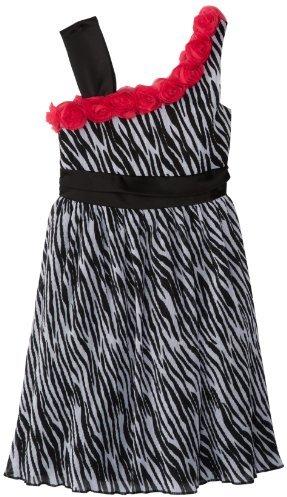 Rare Editions Big Girls' One Shoulder Animal Print Dress