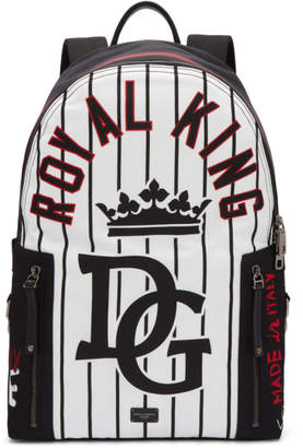 Dolce & Gabbana Black Striped King Backpack