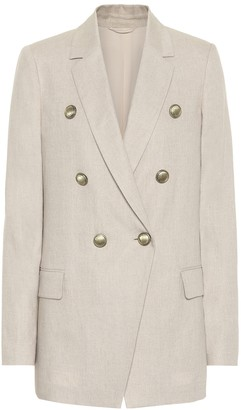 Brunello Cucinelli Cotton and linen-blend double-breasted blazer