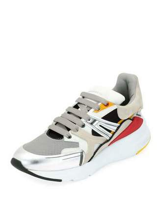 Alexander McQueen Men's Oversized Colorblock Runner Sneakers, White Pattern