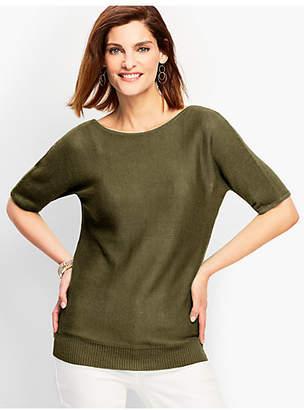 Talbots Linen Back-V-Neck Sweater