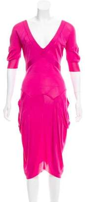Alexander McQueen Short Sleeve Midi Dress
