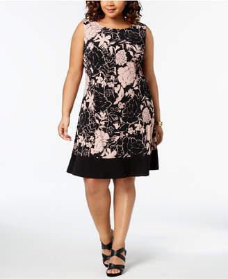 Connected Plus Size Floral Print A-Line Dress