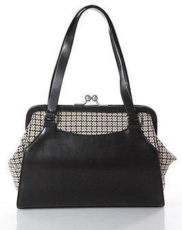 Miu MiuMiu Miu Brown Pink Leather Wool Contrast Small Vintage Style Handbag