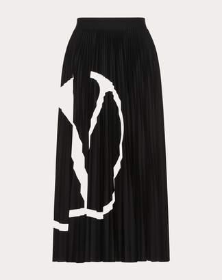 Valentino Vlogo Pleated Jersey Skirt Women Black M
