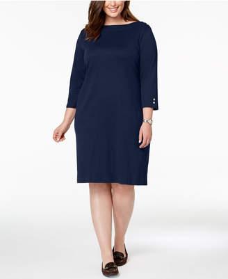 Karen Scott Plus Size Button-Embellished Cotton Dress