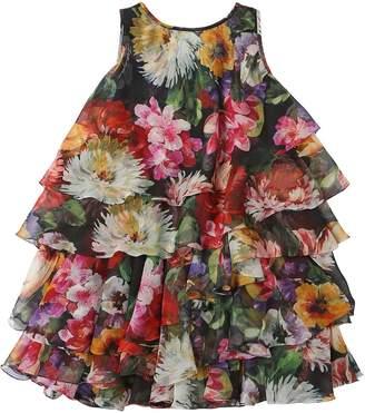 Dolce & Gabbana Floral Print Silk Chiffon Dress