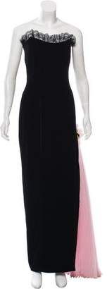 Zang Toi Strapless Velvet Dress