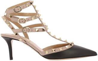 Valentino GARAVANI Pumps Rockstud Ankle Strap In Real Bicolor Smooth Leather With Micro Metal Studs
