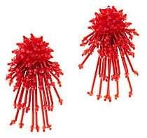 Oscar de la Renta Women's Embroidered Beaded Clip-On Earrings
