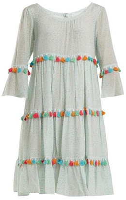 Athena procopiou Procopiou - Spring Rainbow Tassel Trimmed Tiered Silk Dress - Womens - Light Green