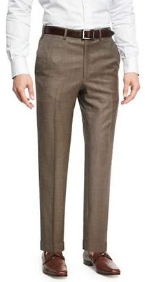 Brioni Sharkskin Wool Flat-Front Trousers, Brown