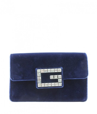 Gucci Square G Blue Velvet Handbags