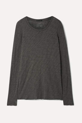 ATM Anthony Thomas Melillo Distressed Slub Cotton-jersey Top - Dark gray