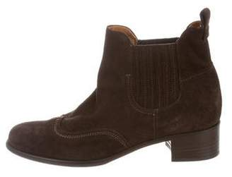 Alberto Fermani Suede Round-Toe Ankle Boots