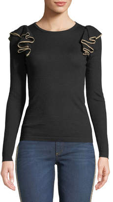 Neiman Marcus Superfine Cashmere Ruffle-Shoulder Sweater