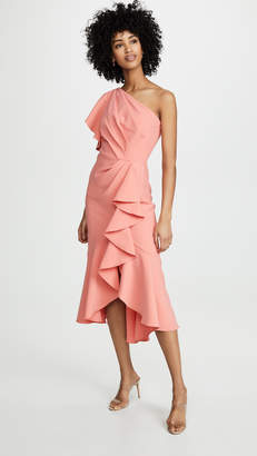 Marchesa One Shoulder Ruffle Sleeve Gown