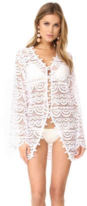 PilyQ Pom Pom Lace Kimono $165 thestylecure.com