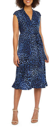 LONDON STYLE Cap Sleeve Leopard Wrap Dress