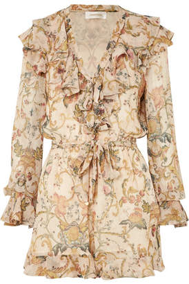 Zimmermann Ruffled Printed Silk-georgette Playsuit - Yellow