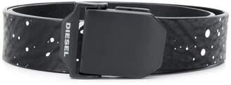 Diesel leather belt with paint splash effect