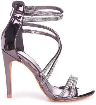 ffd7a26d60fb Linzi Jodie Pewter Diamante Strappy Stiletto Heels