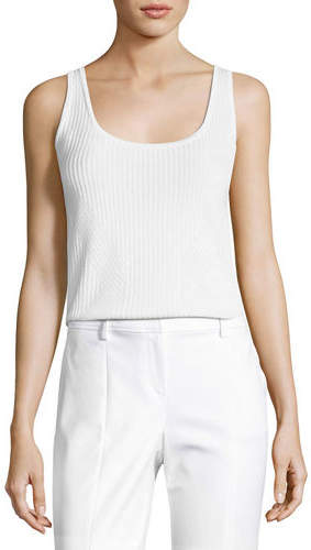 St. John Collection Rib-Knit Scoop-Neck Shell